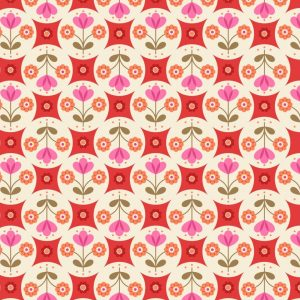Fab floral circles on red A438.3
