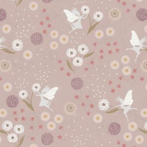Fairy clocks on warm linen with silver metallic A505.1